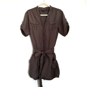 New York & Company V-Neck Belted Romper S Small